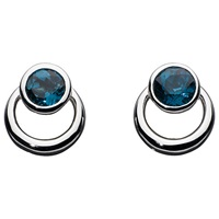 Kit Heath Sterling Silver Simmer Loop Blue Topaz Earrings Silver