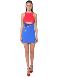 Fausto Puglisi Cut Out Stretch Jersey Mini Dress Blue