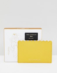 Paul Costelloe Real Leather Scallop Card Holder Yellow