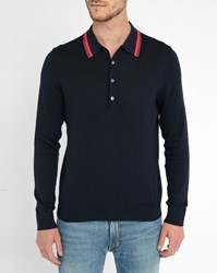 Paul Smith Navy Cotton Knit Contrasting Collar Polo Shirt Blue