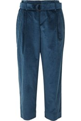 Brunello Cucinelli Oversized Cropped Cotton And Cashmere Blend Corduroy Pants Blue