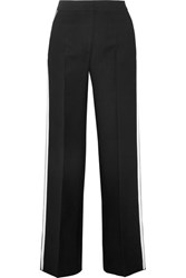 Fendi Striped Wool And Silk Blend Wide Leg Pants Black