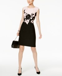 Connected Petite Belted Contrast Floral Sheath Dress Blush Pnk