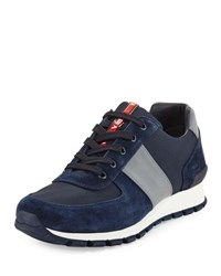 Prada Linea Rossa Suede And Leather Trainer Sneaker Navy