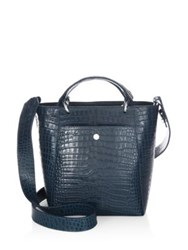 Elizabeth And James Eloise Petit Scaled Leather Tote Croc Peacock