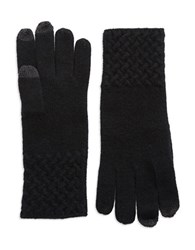 Lord And Taylor Knit Cuff Cashmere Gloves Black