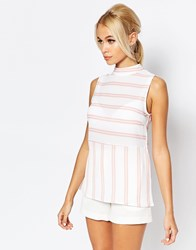 Fashion Union Longline Striped Tank Top White