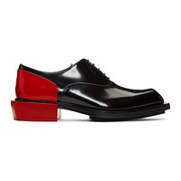 Alexander Mcqueen Black And Red Leather Derbys