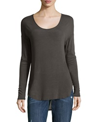 Three Dots Long Sleeve Scoop Neck Tee Dark Peyote