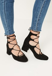 Missguided Black Low Heel Lace Up Shoes