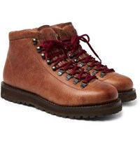 Brunello Cucinelli Shearling Lined Leather Boots Brown