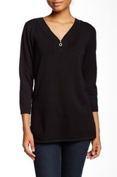 Cable And Gauge Rhinestone Zipper Tunic Sweater Black