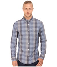 Original Penguin Large Check Chambray Long Sleeve Woven Heritage Dark Denim Men's Long Sleeve Button Up Navy
