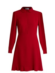 Red Valentino Long Sleeved Crepe Mini Dress Red