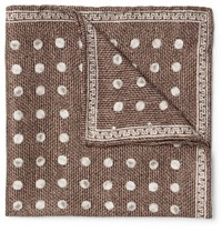 Brunello Cucinelli Polka Dot Silk Jacquard Pocket Square Brown