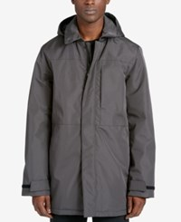 Dkny Men's Full Length Raincoat With Removable Hood Olive