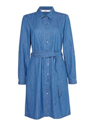 Dickins And Jones Mara Chambray Fit Flare Dress Blue