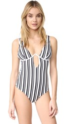 Minkpink Show Your Stripes One Piece Swimsuit Black White