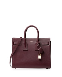 Saint Laurent Sac De Jour Leather Small Carryall Bag Burgundy