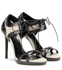 Burberry Gauld 110 Leather And Canvas Sandals Black