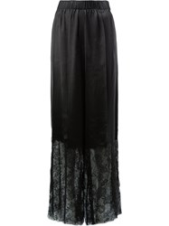 Vera Wang Lace Trimmed Trousers Silk Nylon Viscose Black
