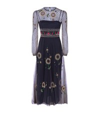 Red Valentino Wishing Flower Maxi Dress Female Blue