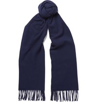 Acne Studios Canada Fringed Virgin Wool Scarf Navy