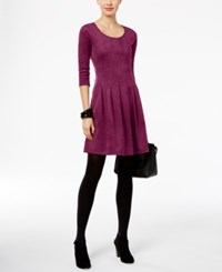 Ny Collection Petite Faux Suede Fit And Flare Dress Sangra Camelot
