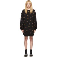 Mcq By Alexander Mcqueen Black Embroidered Swallow Dress