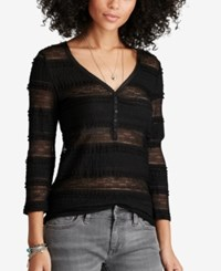Denim And Supply Ralph Lauren Lace Henley Top Polo Black