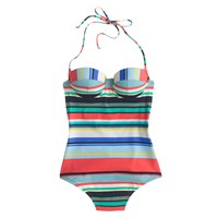 J.Crew Underwire Halter One Piece Swimsuit In Colorful Stripe Coral Multi