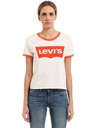 Levi's Cropped Logo Print Cotton Jersey T Shirt
