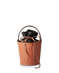 Mateo Madeline Leather Bucket Bag Cognac Tan Gold