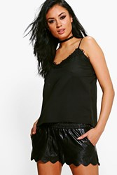 Boohoo Nicky Faux Leather Runner Shorts Black