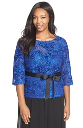 Alex Evenings Rosette Embroidered Lace Top Plus Size Royal