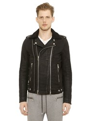 Balmain Coated Cotton Moleskin Biker Jacket