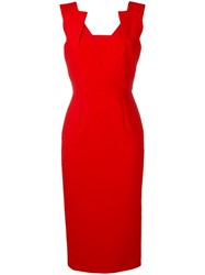 Roland Mouret Coleby Midi Dress Red
