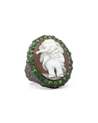 Hand Carved Elephant Cameo Ring Amedeo White