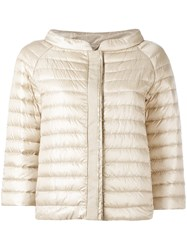 Herno Collarless Puffer Jacket Nude Neutrals