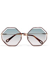 Chloe Poppy Octagon Frame Acetate And Gold Tone Sunglasses Blue
