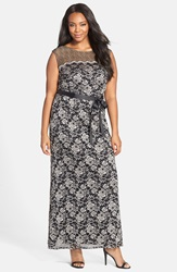 Alex Evenings Belted Illusion Yoke Lace Long A Line Dress Plus Size Black Champagne