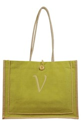 Cathy's Concepts 'Newport' Personalized Jute Tote Green Green V