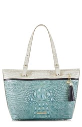 Brahmin Medium Asher Embossed Leather Tote Blue Astral