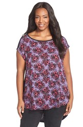 Plus Size Women's Sejour Mixed Media High Low Tee Purple Pink Wild Floral Print
