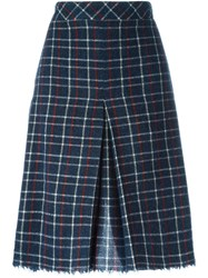 Sea Grid Print Inverted Front Pleat Skirt Blue