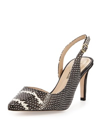 Neiman Marcus Coax High Heel Slingback Pump Black White