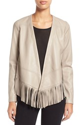 Women's Bernardo Fringe Faux Leather Jacket Light Taupe