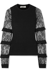 Valentino Ruffle Trimmed Lace And Ribbed Knit Sweater Black