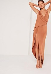Missguided Slinky Chain Strap Maxi Dress Brown Tan