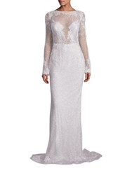 Berta Long Sleeve Beaded Column Gown Silver
